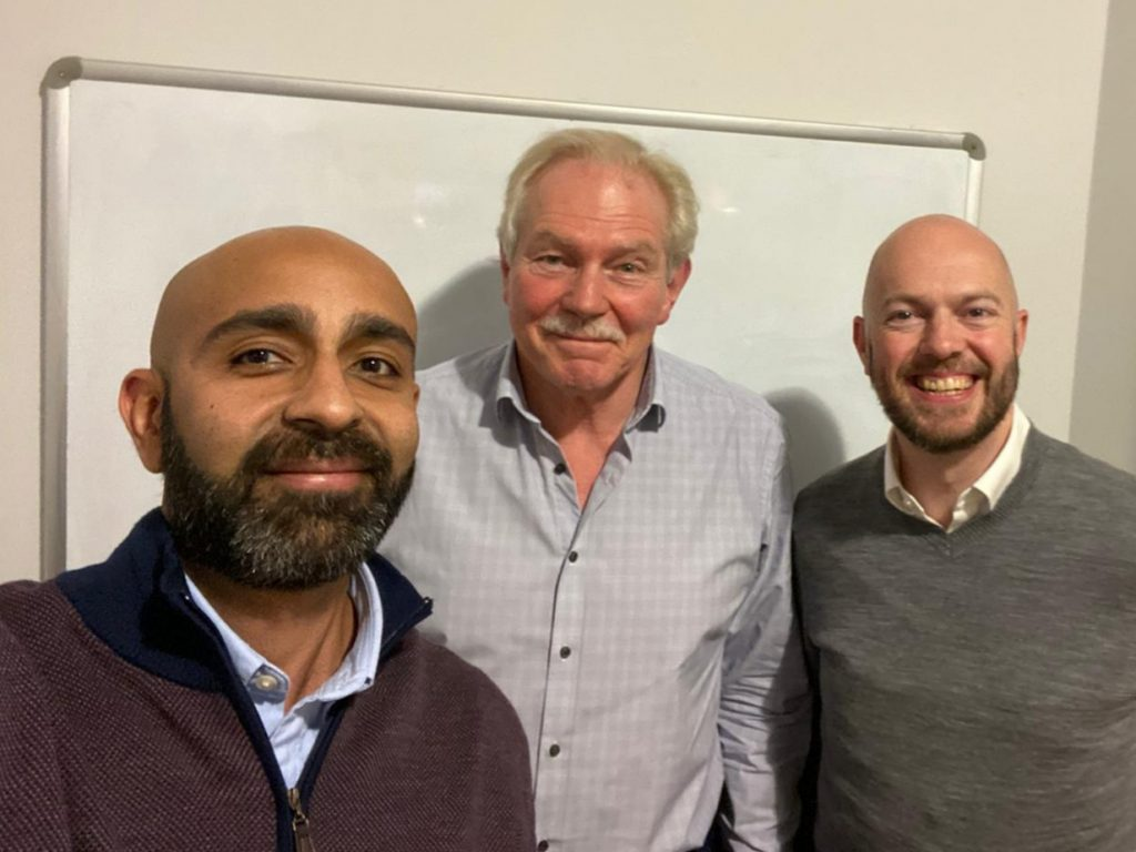 Nell Meghani and Phil Walton with Malcolm Heeley (centre) who joined Cloud Galacticos at the end of 2019