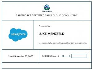 Sales Cloud Consultant Certification Luke Menzfeld